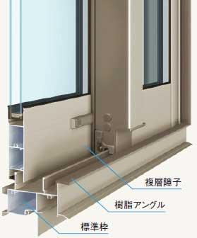 複層ガラスの引き違い窓
